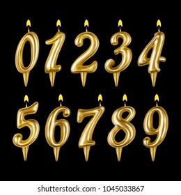 Candle figure number set. For decoration party, celebrations, Happy birthday. Realistic style isolated on black background. 3d. Stock - Vector illustration for your design and business