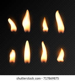 Candle fire flame isolated. Realistic candle bright flame decoration on black