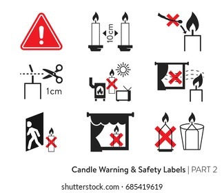 Candle Fire Safety Labeling. Labeling for wax candles. European candle safety standards. Fire-safety label