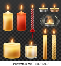 Candle fire. Wax candles for xmas party, romantic heat candlelight flame and lit flaming nightlight in glass. Flames for birthday cake or hanukkah decoration, isolated vector symbol set