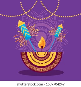 candle fireworks decoration traditional happy diwali festival poster vector illustration