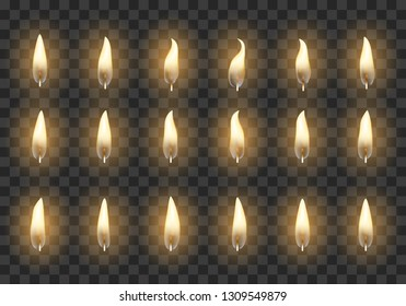Candle flame. Burning orange fire animation frames, flaming vector candles light