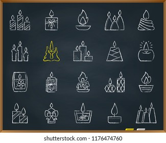 Candle Flame chalk icons set. Outline sign kit church decoration. Memorial Fire linear icon wax, candlelight, light. Hand drawn pastel crayon simple candle flame symbol chalkboard vector Illustration