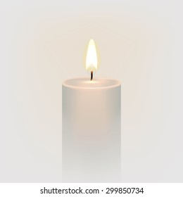 Candle flame fire light. Light background. Realistic paraffin candle. Stock vector illustration EPS 10