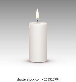 Candle Flame Fire Light Isolated on Background. Realistic Vector Illustration
