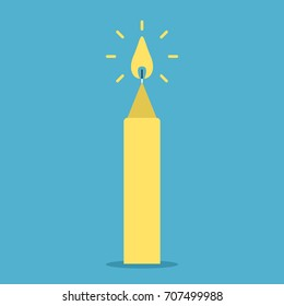 Candle with flame on blue background. Family hearth, new Year and love concept. Flat design. Vector illustration. EPS 8, no transparency