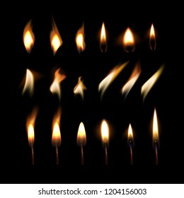 Candle flame set and fire in motion isolated on black background. Vector realistic illustration