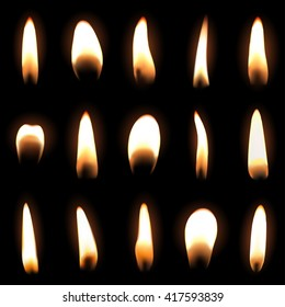 Candle flame set isolated over black background