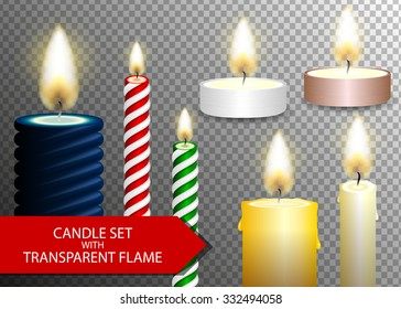 Candle flame set on transparent background