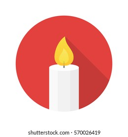 Candle flat design icon vector