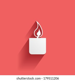candle, flat icon isolated on a red background for your