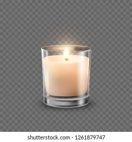 Candle with glass jar isolated on transparent background. Aromatic wax round spa candle with burning flame light. Vector 3D realistic candlelight element design.
