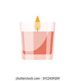 Candle in glass vector illustration. Flat illustration of typical scented wax candle in pink glass isolated on white. Home design, interior, light concept.