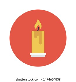 candle glyph flat vector icon