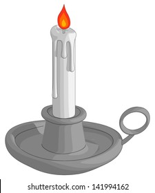 Candle In Holder isolated on a white background.