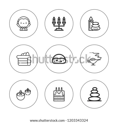 Candle Icon Set Collection Of 9 Outline Icons With Birthday Cake Candelabra Dracula Magic Lamp Editable