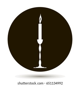 Candle icon. Vector illustration on black background.