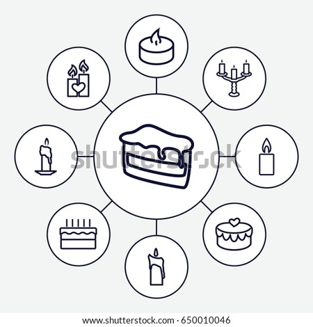 Candle Icons Set Set 9 Candle Stock Vector Royalty Free 650010046