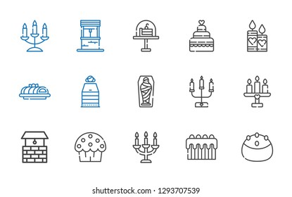 candle icons set. Collection of candle with cake, candelabra, cup cake, well, mummy, sauna, candles, wedding cake. Editable and scalable candle icons.