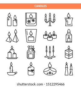 Candle icons set in thin line style. Light source with burning flame symbols. Holiday interior decor. Vector illustration.