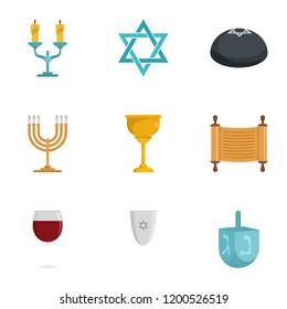 Candle jewish kippah shabbat icon set. Flat set of 9 candle jewish kippah shabbat vector icons for web design