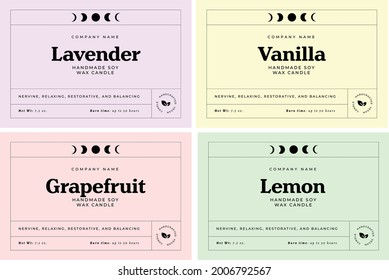 Candle Label Template Candy Pastel Colors, Minimalist Label Design, Packaging Label, Moon Phases, Lavender Candle, Label Sticker