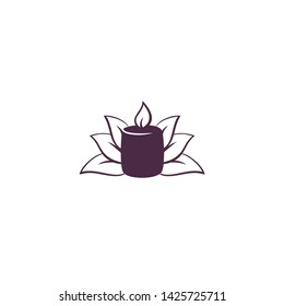 Candle with leaves spa salon logo design vector