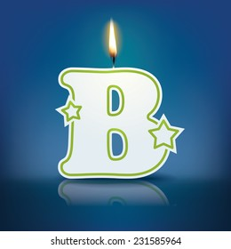 Candle letter B with flame - eps 10 vector illustration