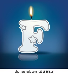 Candle letter F with flame - eps 10 vector illustration