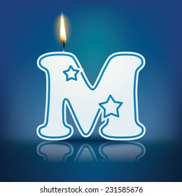 Candle letter M with flame - eps 10 vector illustration