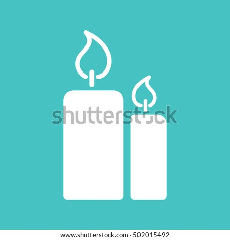 Candle Light Burn Wax White Simple Stock Vector (Royalty