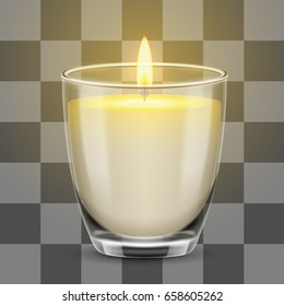 Candle light in a glass jar. Vector realistic illustration isolated on transparent background.