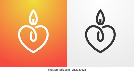 Candle light romantic logo, symbol of kind and tender heart, love and charity emblem.