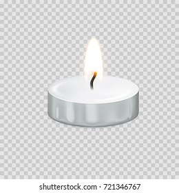 Candle light or tea light flame isolated 3D icon on transparent background. Vector tealight or burning candlelight for Happy Diwali festival, birthday greeting card design or wedding decoration