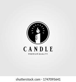 Candle Light vintage Flame Logo Design Illustration