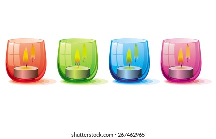 Candle lights in the glass holders