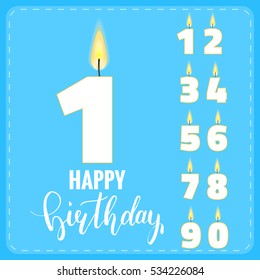 Candle numbers for birthday celebration. Holiday decoration.