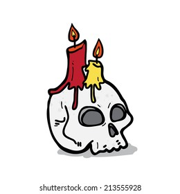 Candle on the skull cartoon - Vector