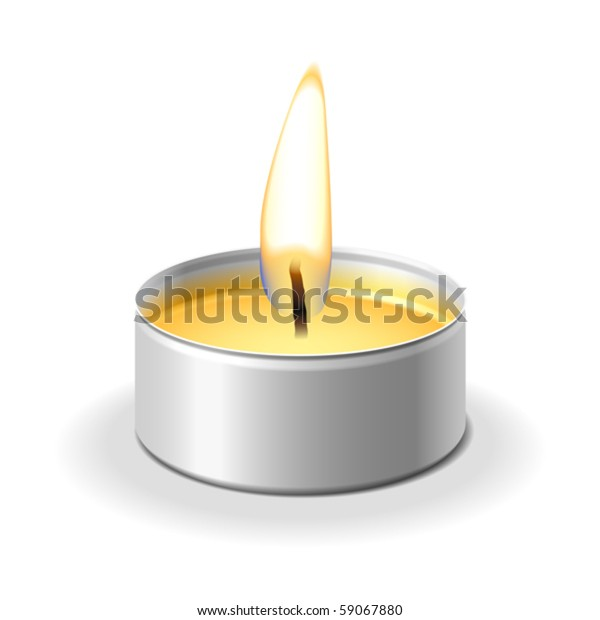 Candle on white. Vector.