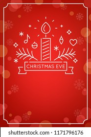 Candle and Ornaments Outline. Christmas Eve Candlelight Service Invitation. Line Art Vector Design and Festive Bokeh Background.