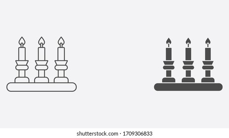 Candle outline and filled vector icon sign symbol