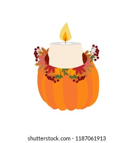 Candle in pumpkin illustration on the white background. Vector illustration
