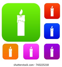Candle set icon color in flat style isolated on white. Collection sings vector illustration