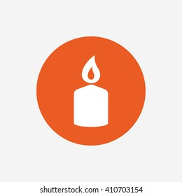 Candle sign icon. Fire symbol. Orange circle button with icon. Vector