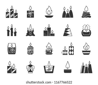 Candle silhouette icons set. Monochrome sign kit of christmas light. Flame pictogram death anniversary, home cozy, candlestick. Simple candle black symbol isolated on white Vector Icon shape for stamp