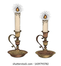 Candle sketch. Hand drawn vector illustration in vintage style. Vintage candlestick engraving in retro style. Vector illustration