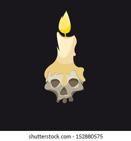 Candle with a skull on a black backgrounds, vector illustration