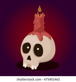 candle and skull , vector