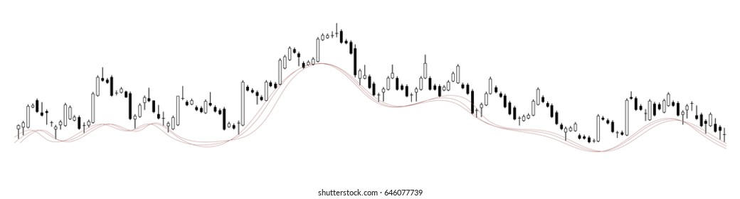 Candle stick stock chart on transparent background