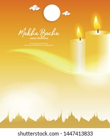 Candle and temple on yellow background - Buddha's Day Buddhist Lent - Magha Asanha Visakha Puja Day